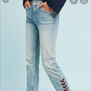 Pilcro Velvet Laced mid-rise slim jeans